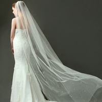 2017 Long Luxury Wedding Veils With Crystal And Pearl Bridal Veils With Comb 1 Layer Ivory Cathedral Veil Wedding Accessories
