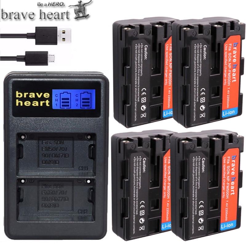 PräZise 4 Xcamera Batterie Np-fm500h Bateria Np Fm500h Stromquelle Usb Ladegerät Für Sony A200 A350 A700 A900 A300 A550 A350 A850 A560 A580 Slt-a57 A58 Jade Weiß