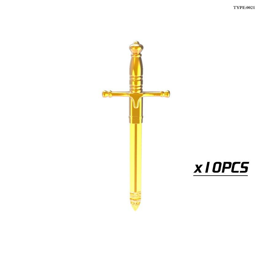 10pcslot Medieval Castle Knight Weapons Helmet Armor Shield Halberd Hammer Axe Swords Building Blocks Bricks Kids Toys21