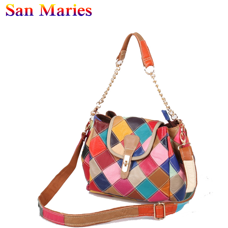 San Maries 2019 Women Genuine Leather Patchwork Bag Female Shoulder Casual Bags High Quality Leather Messenger BagSan Maries 2019 Women Genuine Leather Patchwork Bag Female Shoulder Casual Bags High Quality Leather Messenger Bag