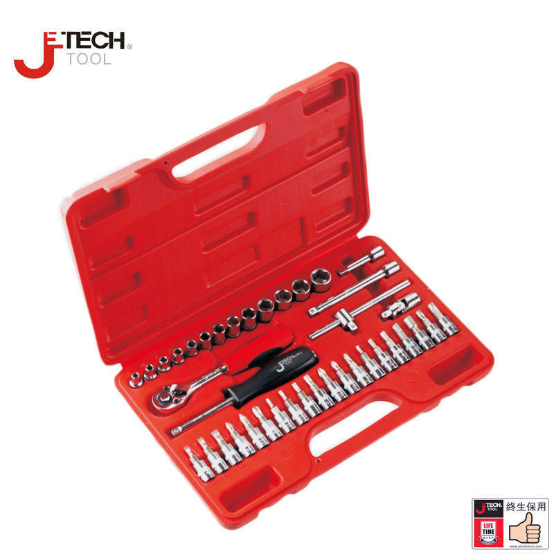 Jetech 39 in 1 1/4 DR metric torx socket wrench tool set kit car tools case box for auto repair opening tools lifetime guarantee pro skit 8pk 02730 in 1 sae6150 metric inch combination hex key wrench set black