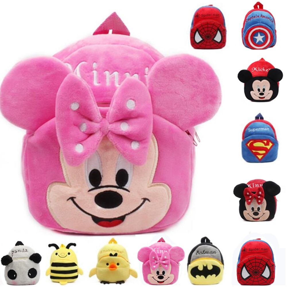 Mickey Mouse Cartoon Kids Plush Backpack Toy School Bag Children's Gifts Baby Backpack Boy Girl Baby Student Bags Mochila Bebe