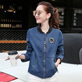Autumn Spring Long Sleeve Kimono Denim Patch Badges Bomber Jacket Women Oversized Coat Plus Size Baseball Uniform Badge Outwear
