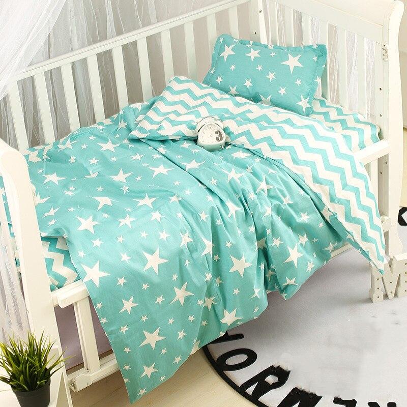 Cotton 3pcs/set Baby Bedding Set Cute Cartoon Pattern Newborn Crib Kit Baby Bed Sheet Quilt Cover Pillowcase Infant Cot Bedding