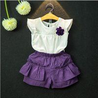 Summer New Girls lace Vest + Purple Color Pants Baby Girls Suit casual Kids Clothes 2-7y toddler Girl Clothing Set