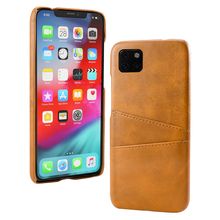 купить For iPhone 11 11 Pro 11 Pro Max Case Retro Calf Grain PU Leather Back Anti-Scratch Hard PC Cover for iPhone 11 Case Card Holder по цене 204.51 рублей