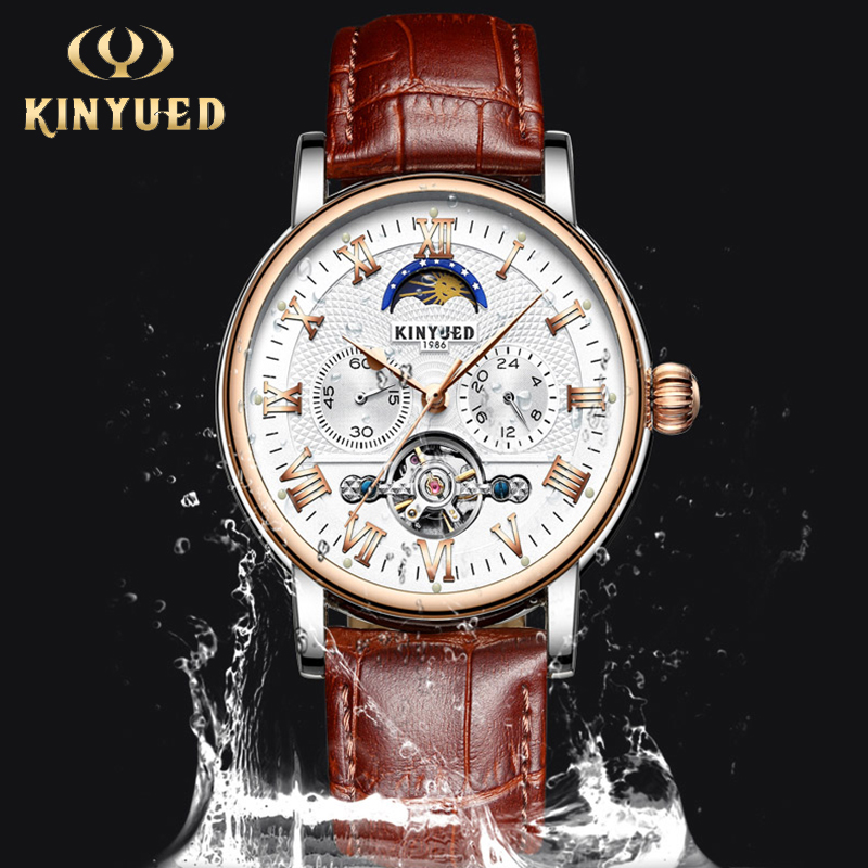 KINYUED Moon Phase Mechanical Men Wristwatch Tourbillon Fashion Brand Chronograph Skeleton Watch Automatic horloges mannen 2018 подвеска telle quelle подвеска