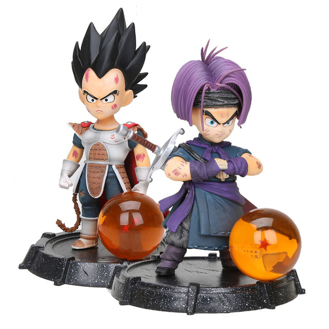 Dimensão de Dragonball Dragon Ball Super Vegeta Trunks Staute com Bola De Cristal PVC Figure Toy Collectible Modelo GK