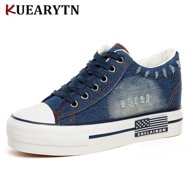350587c1f0 2018 new demin canvas shoes flat fashion trendy comfortable women shoes  with platform rubber soles loafers