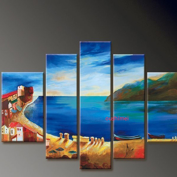 Handmade Mediterranean Picture On Canvas Landscape Oil Painting Handpainted Living Room Wall Decor Pictures Artwork Seascape