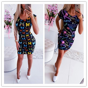 New Arrival 2019 Summer Dresses Sexy Slim Bodycon Pencil Mini Party Dresses Women Short Sleeve Letter Butterfly 3D Printed Dress(China)