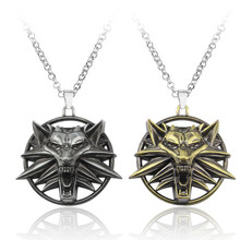 Hot Game Witcher 3 Wild Wolf Head Necklace Men Collier Medallion Wizard Wild Hunt Figure Game Fans Jewelry Gift Drop Shipping(China)