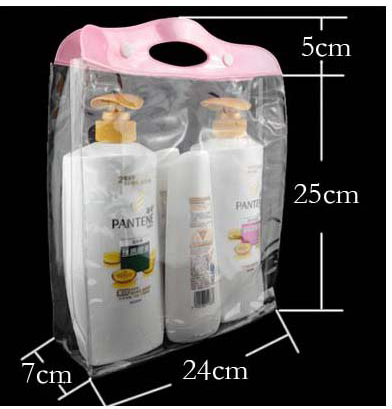 24 7 25cm Silvery or Pink Zipper Gift bag Universal transparent packaging Cosmetics trial outfit PVC