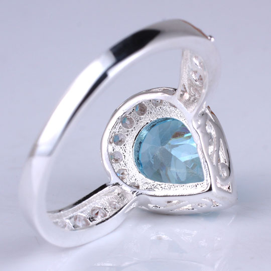 Rhodium Plated Authentic Promise 925 Sterling Silver Ring Pear Cut Stone Jewelry R079 Size 6 7 8 9 Gift