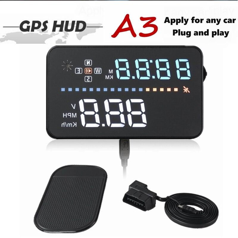 A3 HUD Voiture Head Up Display GPS Compteur De Vitesse Pare-Brise Projecteur Numérique de voiture compteur de vitesse OBD2 Câble