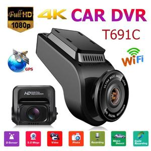 Image 2 - רכב דאש מצלמה T691C 2 אינץ 4K 2160 P/1080 P FHD דאש מצלמת 170 תואר עדשה כפולה רכב DVR מצלמה מקליט עם מובנה GPS חדש