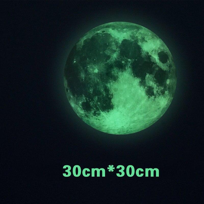 1 шт. съемный мир мун-mail светятся в темноте лунный свет планета наклейка Луна Светящие ...