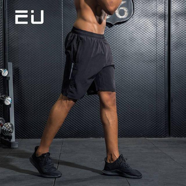 e8f46088cf UE negro reflectante Pantalones cortos para correr Quick Dry fit hombres  CrossFit paño gimnasio fitness bodybuilding