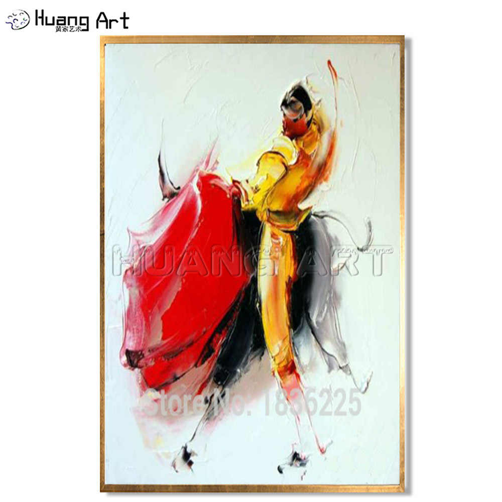 e287e10e488 100% Hand Painted Modern Abstract Bullfighting Oil Painting for Wall Decor  Matador and Bull Figure