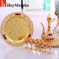 HeyMamba Metal Wine Glass Gold/Sliver Spirits Wine Cup Set Rose Flower Coffee Tea Set For Home Bar Party Decoration