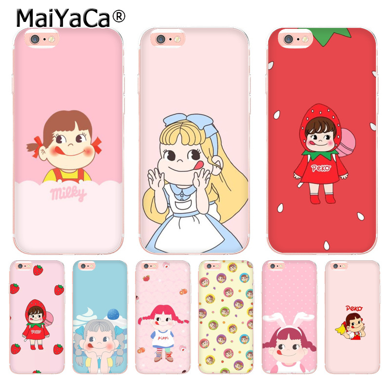 MaiYaCa Fujiya Milky Peko chan Transparent Cover Case for Apple iPhone 8 7 6 6S Plus X 5 ...