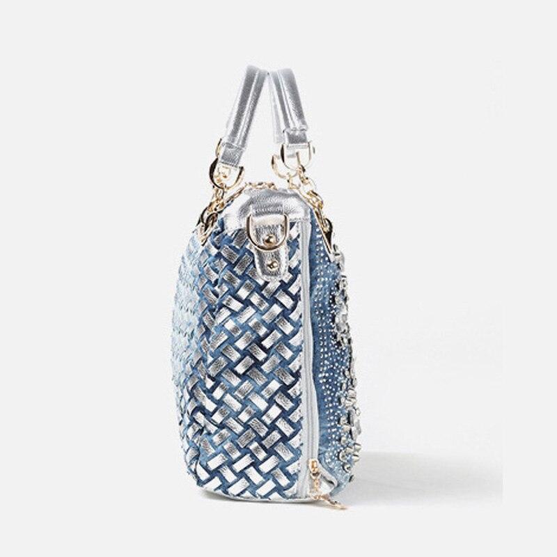 IPinee denim jean décontracté femmes sacs à main designer tissage sacs à bandoulière strass décoratif femmes messenger sac fourre-tout - 3