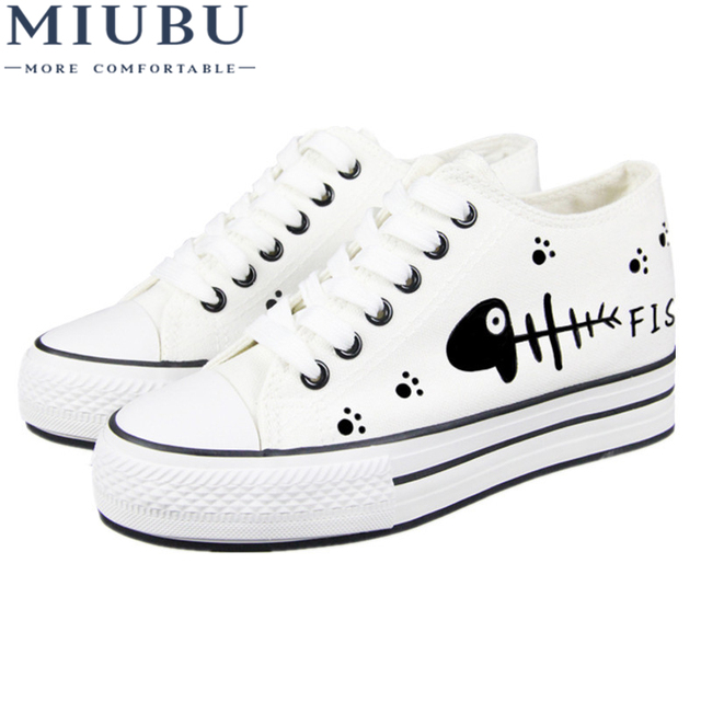 ad6e1b77d3524 US $22.53 15% OFF|MIUBU Women's White Shoes Breathable Cat Print Girls  Platform Canvas Shoes Women Casual Trainers Thick Sole Shoe Ladies-in  Women's ...