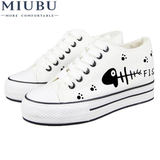 3a7820cc64 MIUBU Women's White Shoes Breathable Cat Print Girls Platform Canvas Shoes  Women Casual Trainers Thick Sole