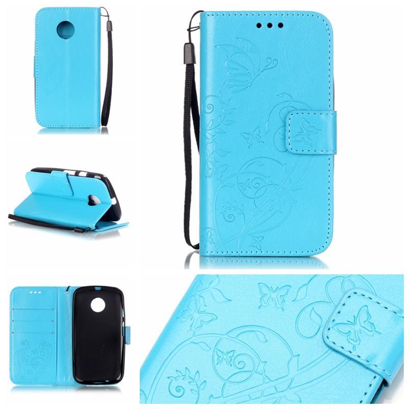 Moto E 2nd gen Card Holder Leather Wallet Case 3D Embossing Flower Flip Case for Motorola Moto E2/E+1 XT1505 XT1524 Phone Cover