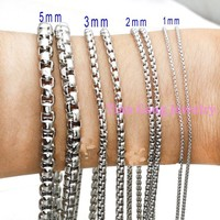 Wholesale Jewelry 5 10 Meter Silver 1 2 3 5mm 100 316L Stainless Steel Box Chain
