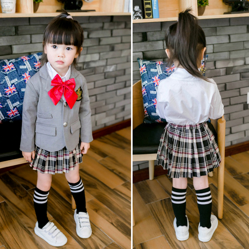 Children Girls School uniform Clothes Set 2016 New Autumn 3Pcs Long Sleeve Jacket White Blouse Skirt Girl Kids School Outfits