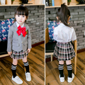 Niños Niñas uniforme Escolar Ropa Fijada 2016 Nuevo Otoño 3 Unids Chaqueta de Manga Larga Blanco Blusa Falda de La Muchacha Niños de La Escuela trajes