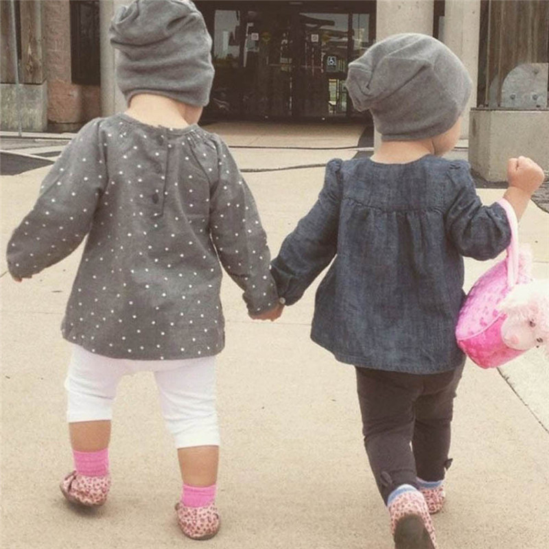 New Baby Street Dance Hip Hop Hat Spring Autumn Baby Hat Scarf for Boys Girls Knitted Cap Winter Warm Solid Color Children Hat 2