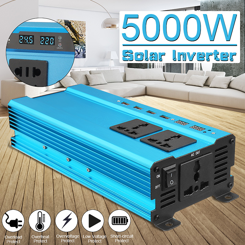 Inverter 12V 220V 5000W Peak Car Power Inverter Voltage Transformer Converter 12 220 Charger Solar Inversor 12V 220V Blue Style car inverter 12v 220v power inverters voltage transformer converter 12 220 1000w charger on display solar adapter 12v 220v dy104