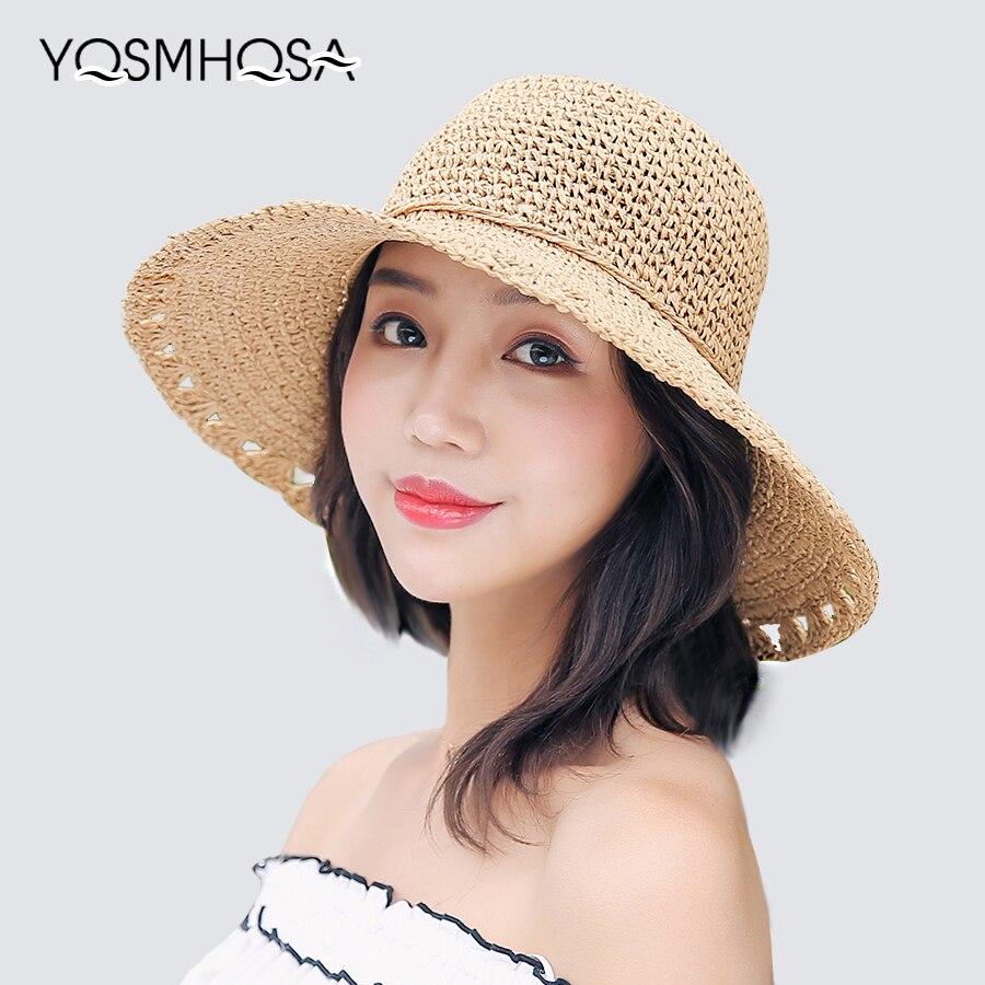2018 Neue Weibliche Sommer Perle Sonne Hut Für Frauen Hohl Hand Made Damen Stroh Strand Hüte Mädchen Reise Stroh Kappe Zubehör Wh611