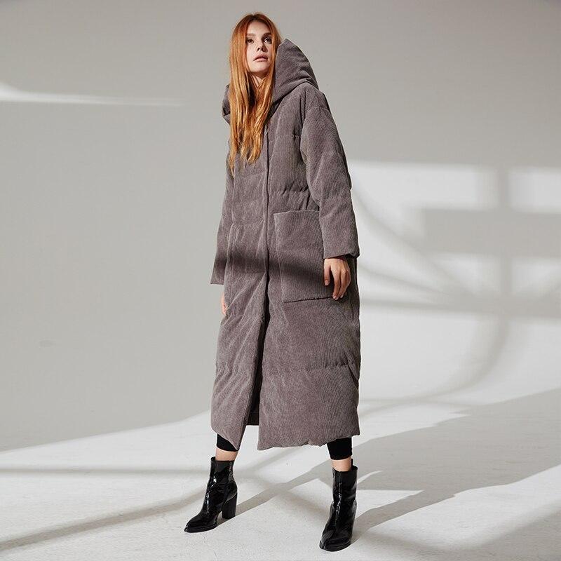 Duck Down Jacket Women Winter thick Outerwear Coats Female velvet fabric hooded Warm Down puffer long jacket Parkas wq698