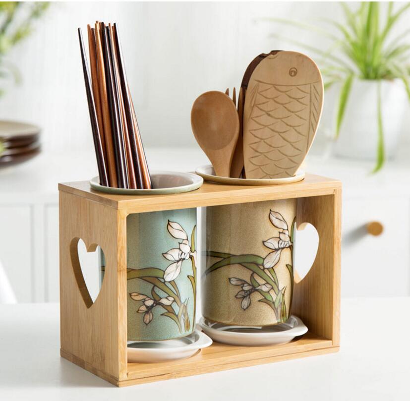 Ceramic chopsticks storage rack storage porous drainage spoon knife and fork kitchen supplies storage box accessories