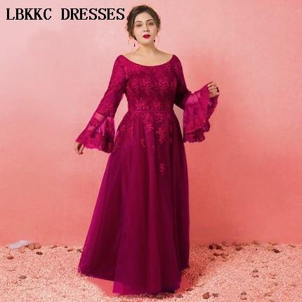 Lace Prom Dresses 2018 Long Vestido Formatura Appliques Gala Jurken Long Sleeve Prom Dress Elegant Women Evening Dress Plus Size