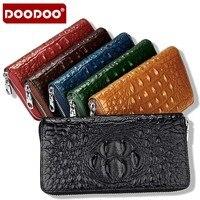 DOODOO Fashion Genuine Cowhide Leather Women Purse Zipper Around Crocodile Alligator Pattern Female Long Wallets Bags