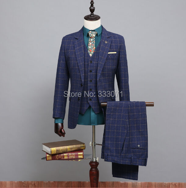Wool Blue Ckeck Tweed Custom Made Men suit Blazers Retro tailor made slim fit Wedding suits Groom Dress Party tuxedo 3 Pcs