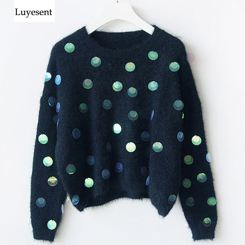 Women Handmade Sequin Beading Mohair Round Neck Long Sleeve Pullover Sweater 2019 Autumn Winter Charactor Knit Top Femme Mujer