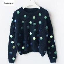 Mujeres handmade abalorio de lentejuelas mohair cuello redondo manga larga suéter 2020 Otoño Invierno personaje knit top mujer