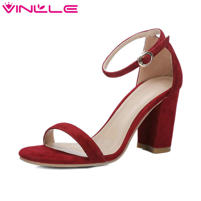 VINLLE 2017 Woman Sandals Concise Summer Peep Toe PU Sandals Square High Heel Genuine Leather Ladies Elegant Shoes Size 34-39 vinlle 2017 women pumps slingback shoes high heels all match pu leather square high heel elegant ladies summer shoes size 34 43