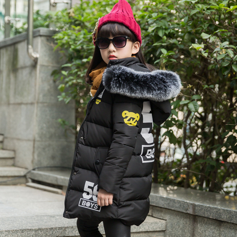 Girl winter jacket coat black cute hooded fur collar size 4 5 6 7 8 9 10 11 12 13 years child clothes thick long outerwear children cowboy jacket coat hooded 2017 winter new tide thick cashmere long outerwear size 4 5 6 7 8 9 10 11 12 13 years girl
