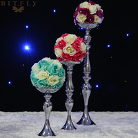 Silver Color Metal Candle Holder 30cm/47cm/73cm/120cm Tall Candle Stand For Wedding Event Candelabra Candle Stick Flower Vase