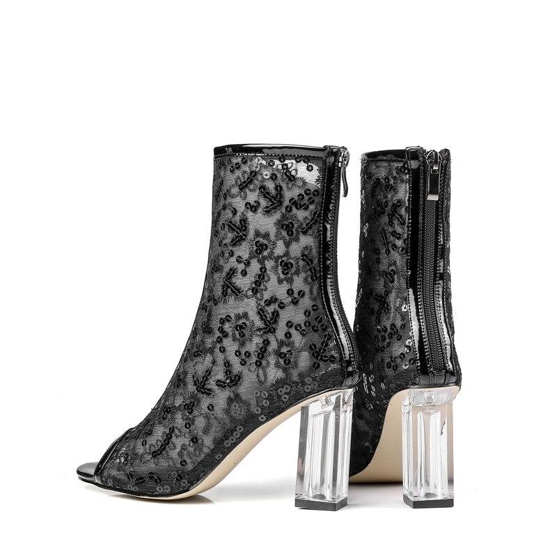 Verano 8cm Zip Zapatos Altos Mujeres Botas Black black Peep Botines 33 Toe 5cm Grande Nuevos 43 white 6 Tamaño Mujer De Tacones Bling Masgulahe Baile 5cm Moda 6 PXfSS0