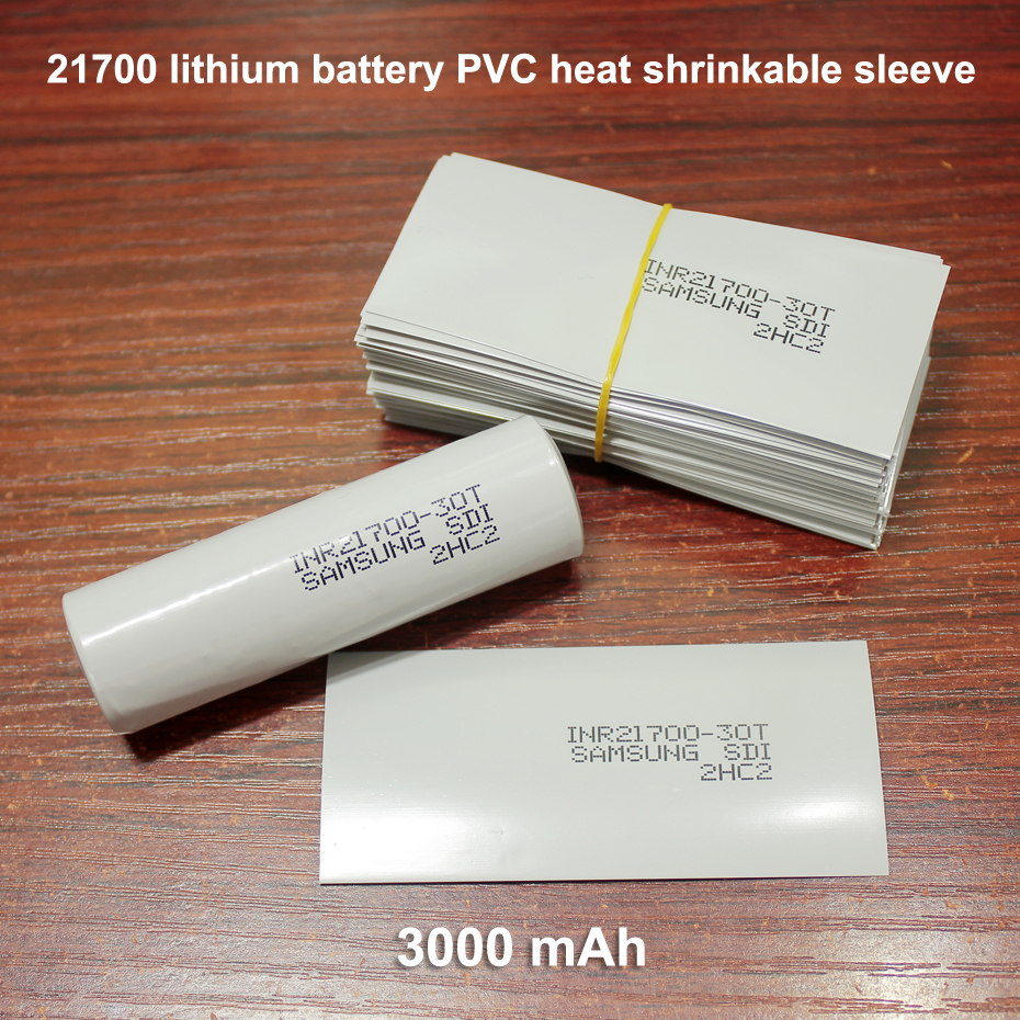 100pcs/lot <font><b>21700</b></font> lithium <font><b>battery</b></font> replacement skin <font><b>battery</b></font> packaging film PVC heat shrinkable <font><b>sleeve</b></font> packaging film 3000MAH image