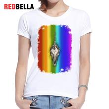 REDBELLA Women T Shirt 2017 Unicorn Skull Rainbow Bones Art T-shirt Femme Printing Fashion White Roupas Femininas Clothing Hots