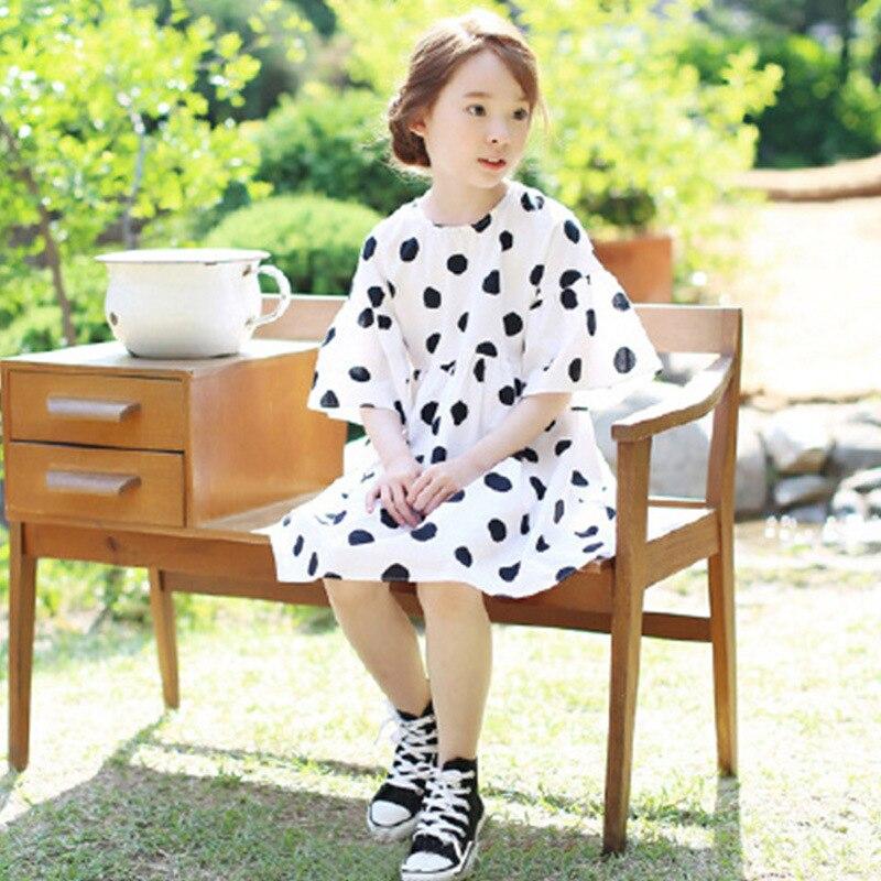 5c25913a3709b korea style summer girl dress teens kids cotton polka dot cute dresses big  girls fashion loose princess vestidos age 3-14 Yrs