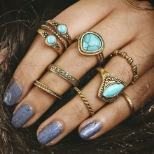 2018 FASHION 8pcs/Set Vintage Punk Ring Set Heart Antique Gold Circle Lucky midi Rings Women Lady Boho Beach Jewelry Natural